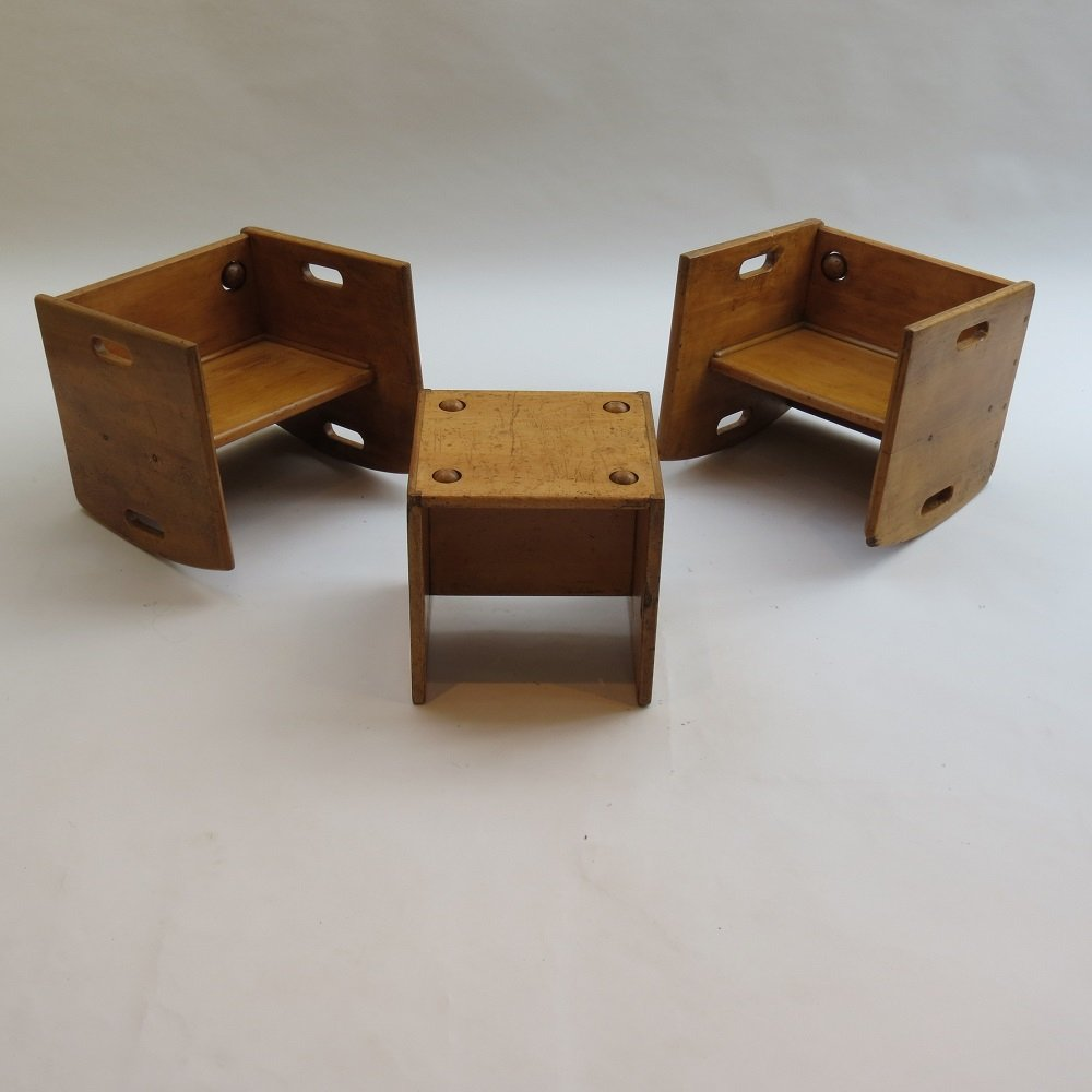 1950s Vintage Wooden Childs Chair Table Set 141287