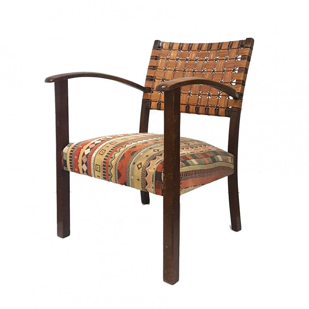 Armchair with boho fabric & rattan back, 1930s
