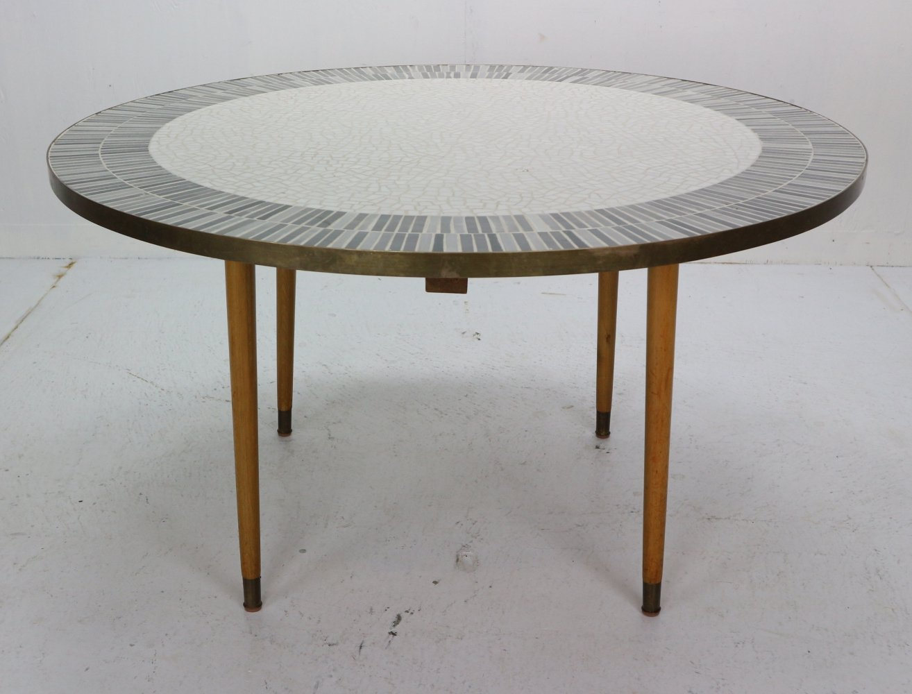 Berthold Muller Large Round Mosaic Coffee Table, Germany 1960s