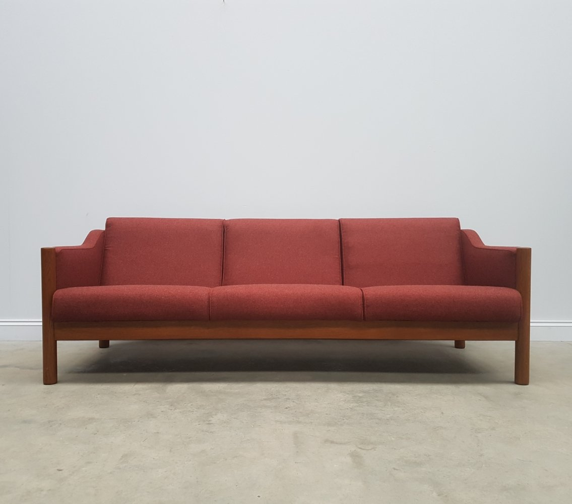 Three Seat Mid Century Danish Sofa in Burgundy Wool, 1960