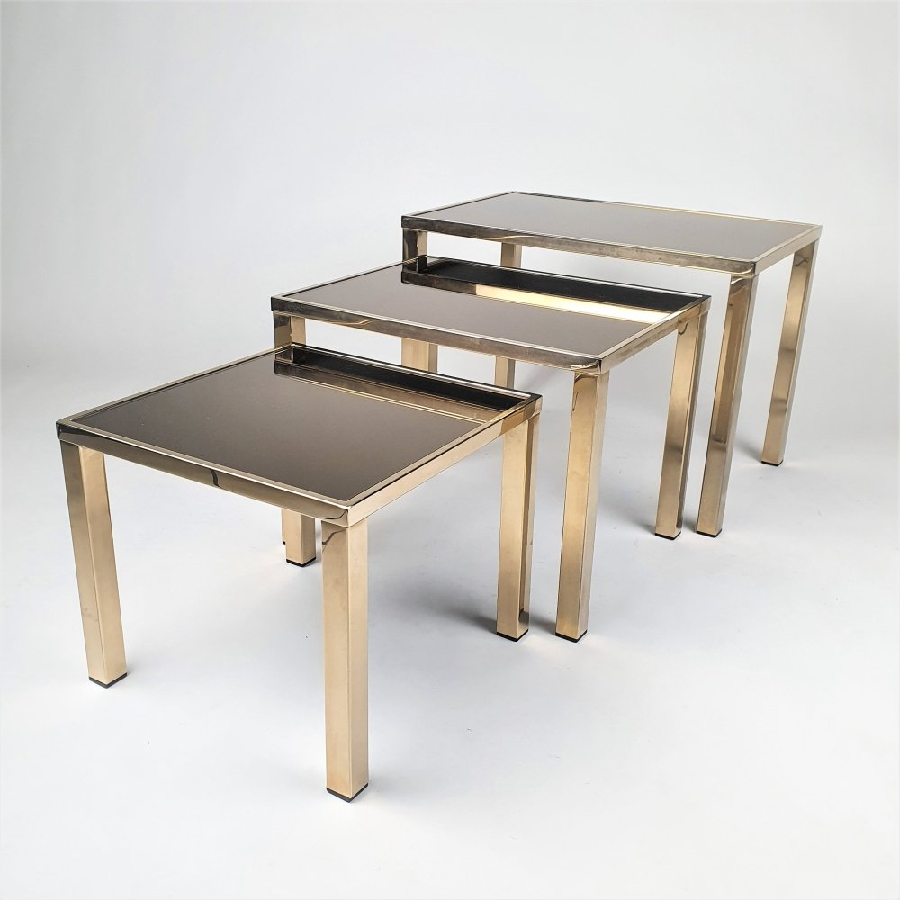 Set of 3 24k Gold-Plated Nesting Tables by Belgo Chrom, 1970s