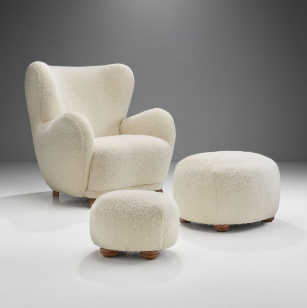 Lounge Chair with Ottomans by Danish Cabinetmaker, Denmark 1960s