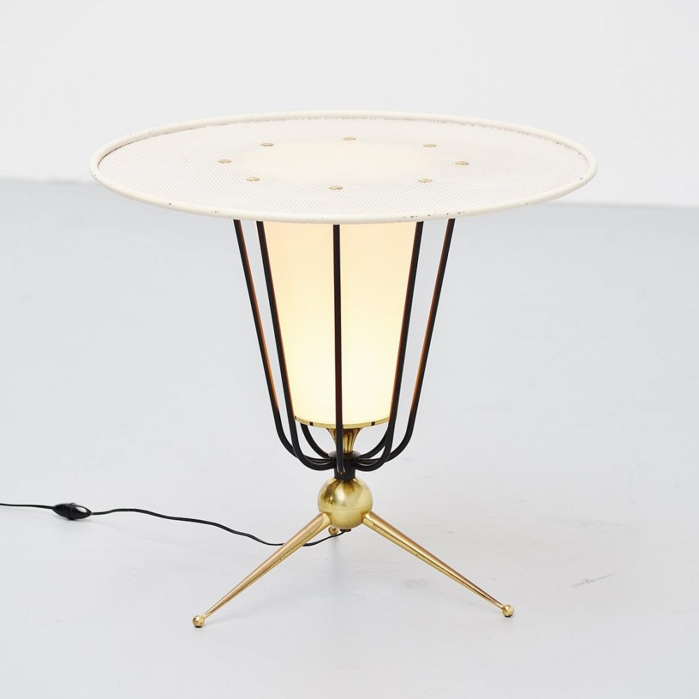 Oversized floor lamp with tripod base, 1950s