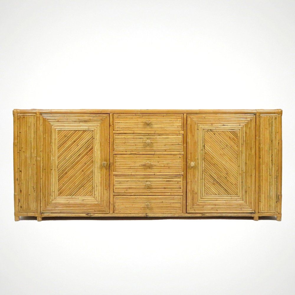 Bamboo sideboard with leather details, 1970s