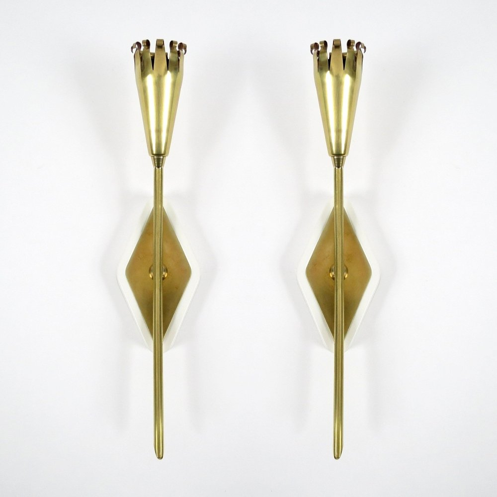 Set of 2 French wall lights, 1950s