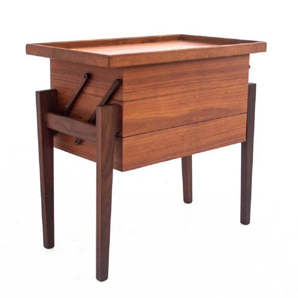 Vintage teak thread table, Danish design 1960s