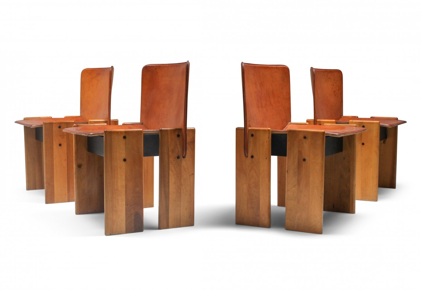 Walnut & cognac leather dining chairs by Afra & Tobia Scarpa, Italy 1970s
