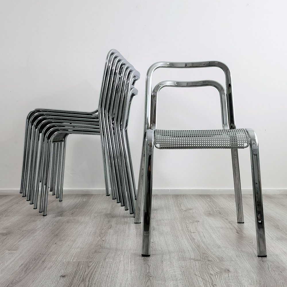 Set of 8 Italian Chrome Dining Chairs with Perforated Seats, 1960s