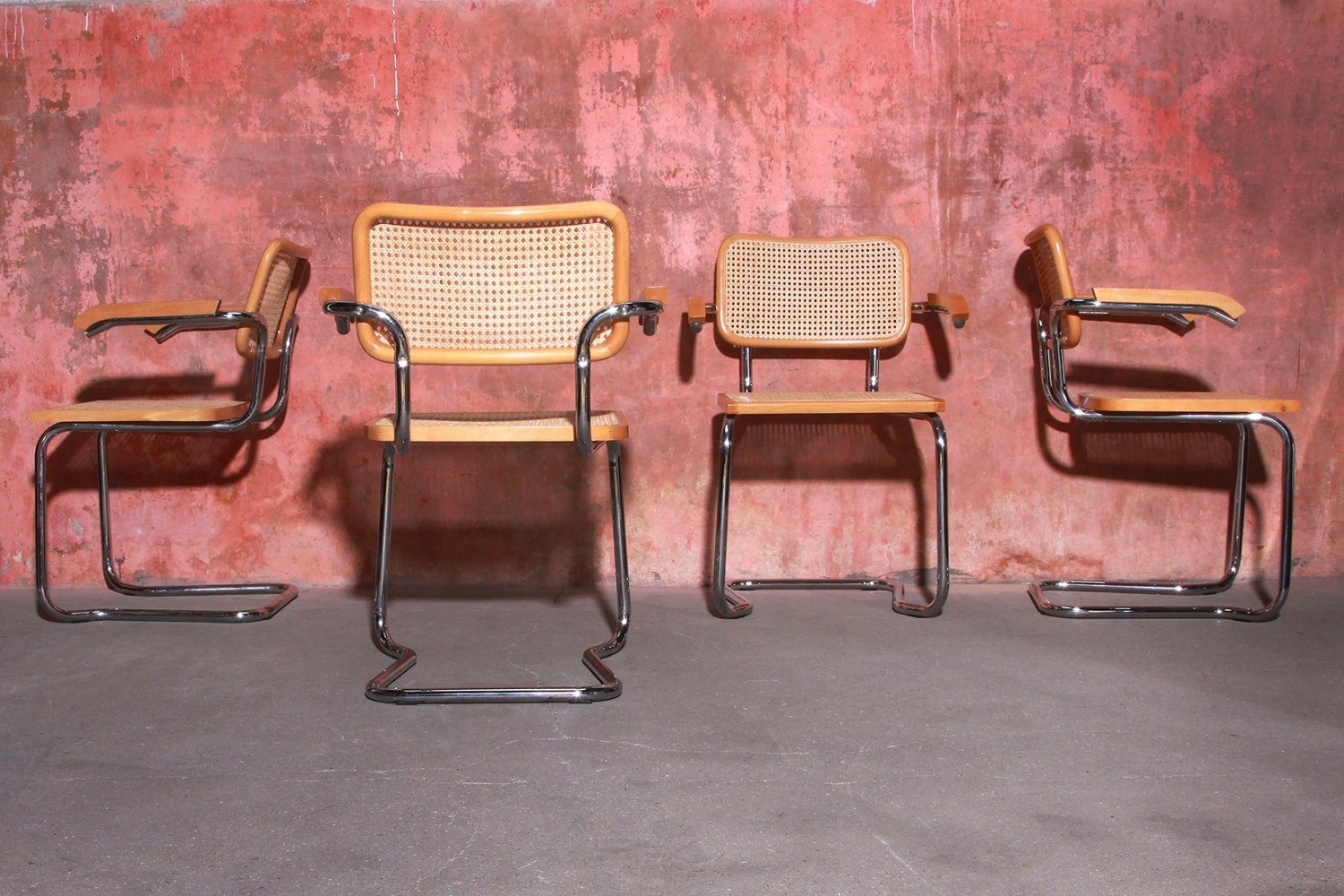 Set of 4 Stackable Dining Chairs, Italy 1980s