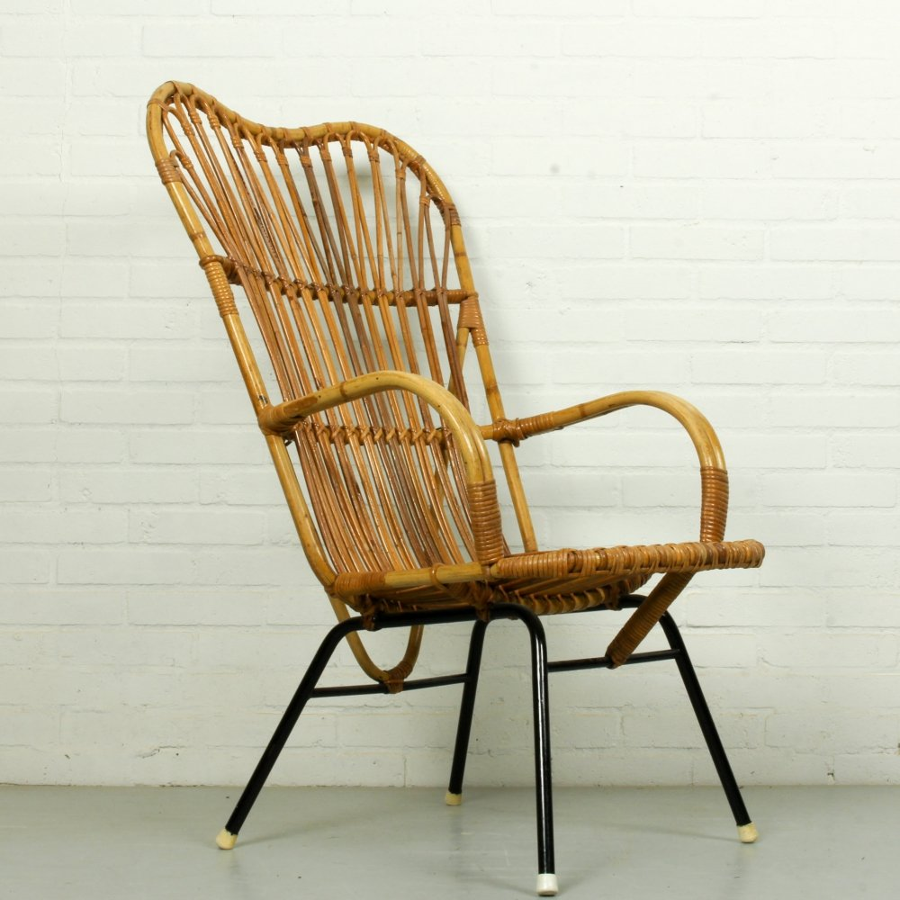 Metal & Rattan Terrace or Lounge Chair from Rohé Noordwolde, 1960s