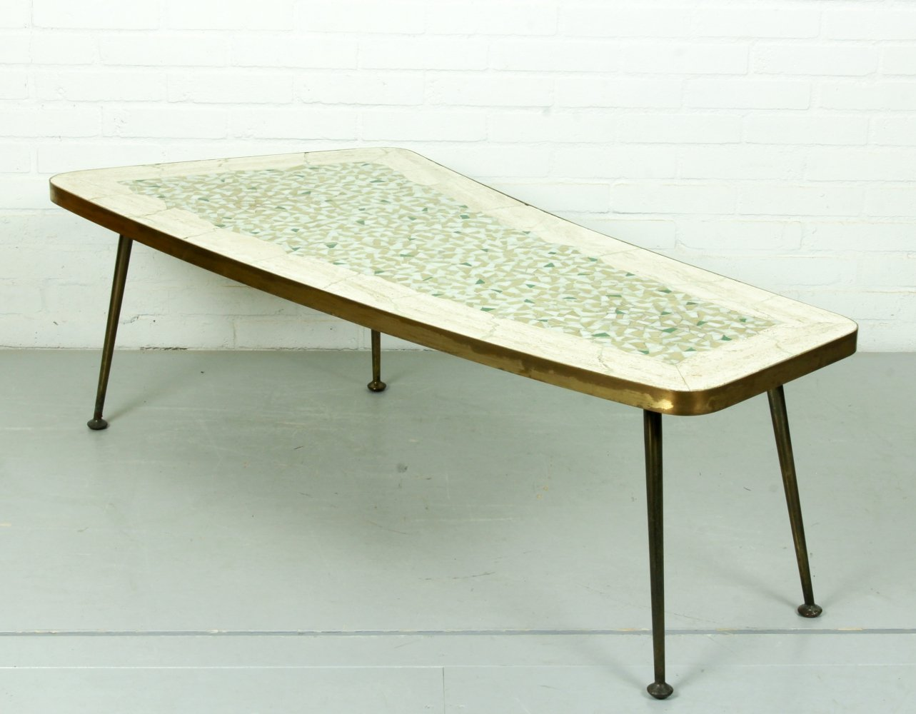 Mid century organically shaped brass-leg coffee table, 1950s
