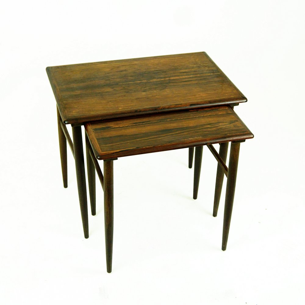 Set of Two Scandinavian Rosewood Nesting Tables by Poul Hundevad