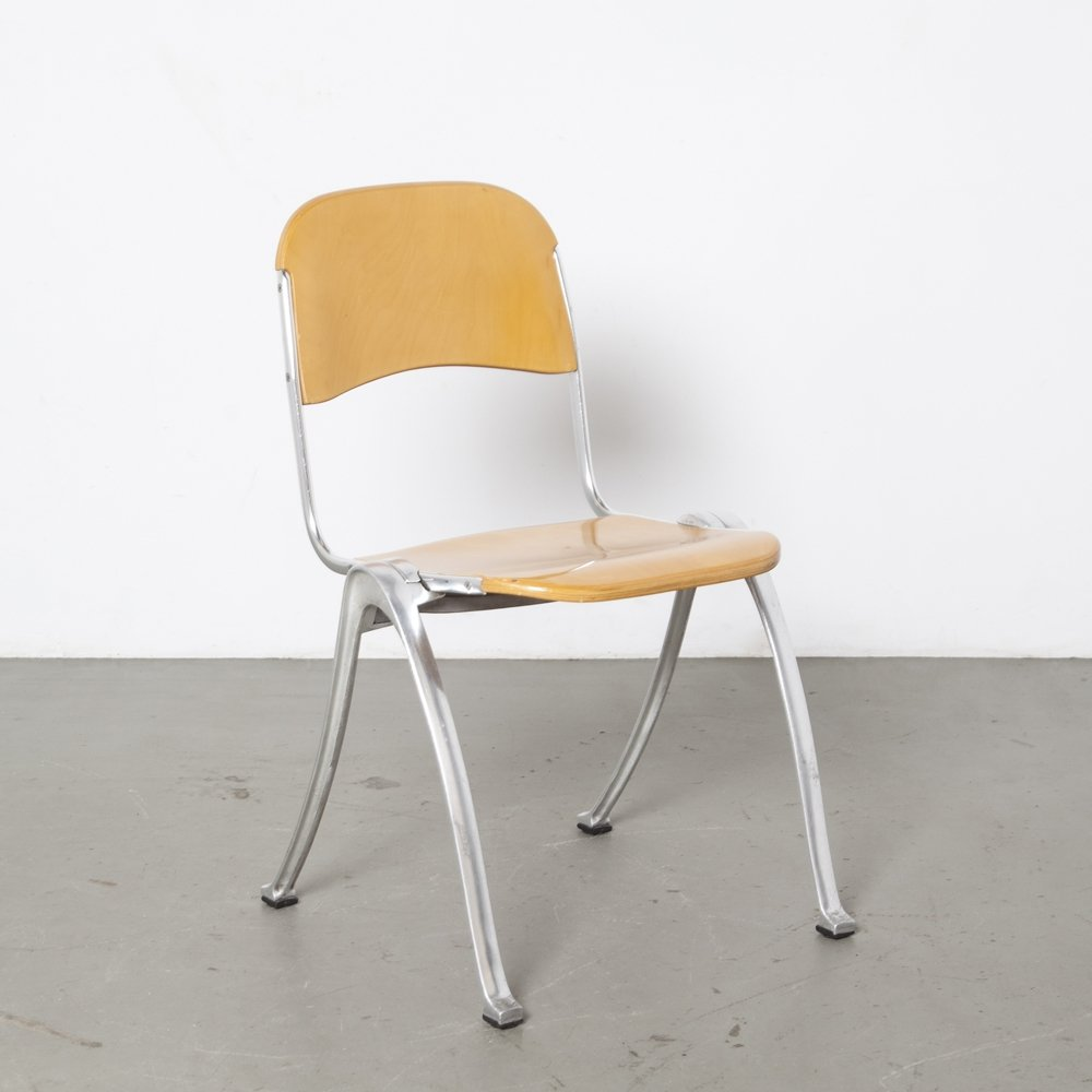 4 x Stacking Chair in blond wood, 1990s