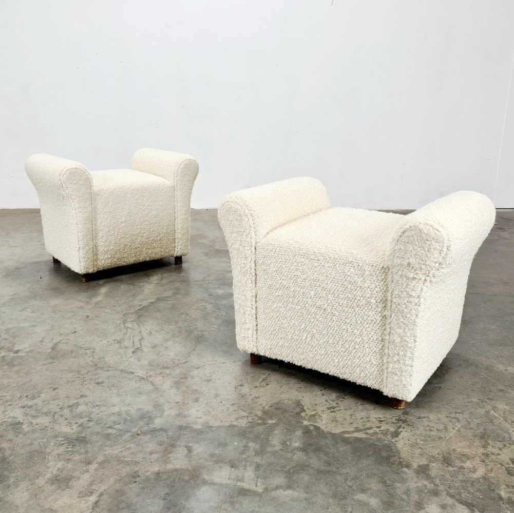 Set of 2 French footstools/poufs, 1960s