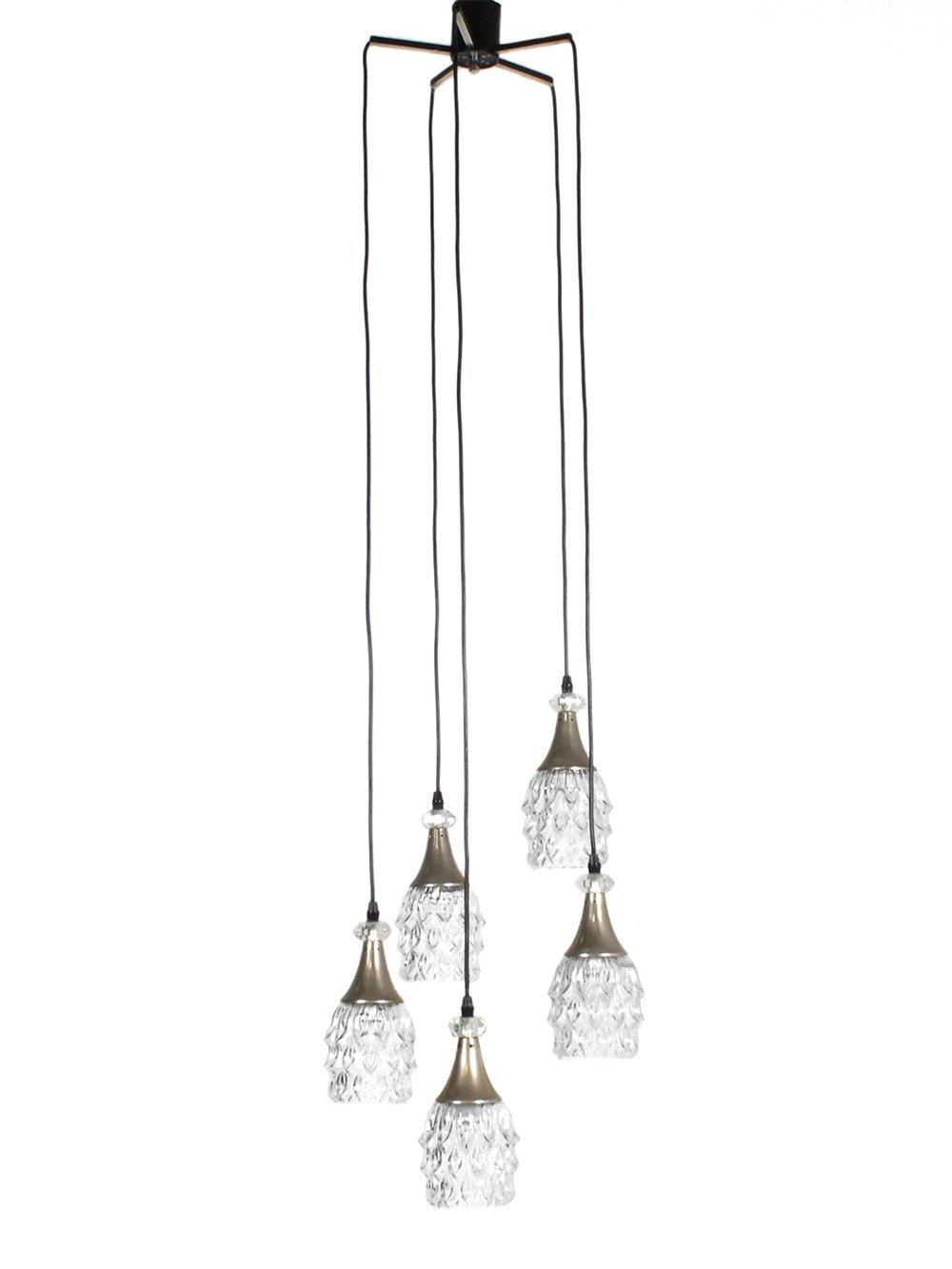 60s Pendant with five molded glass shades