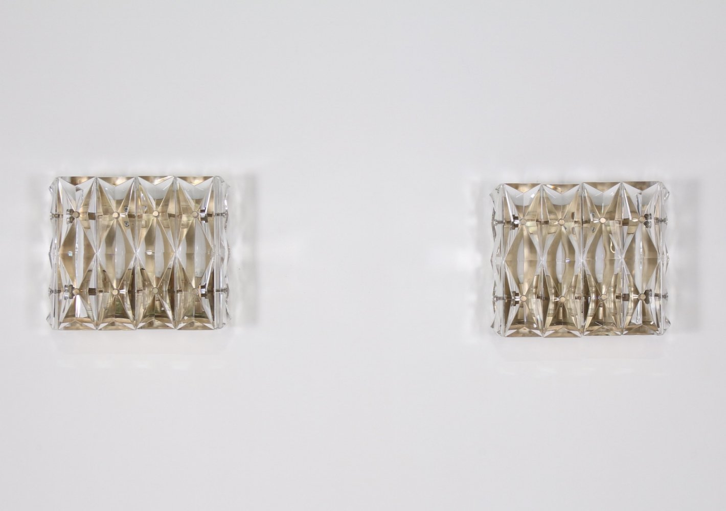 Pair of gilded metal & molded crystal wall lights by Kinkeldey, 1970