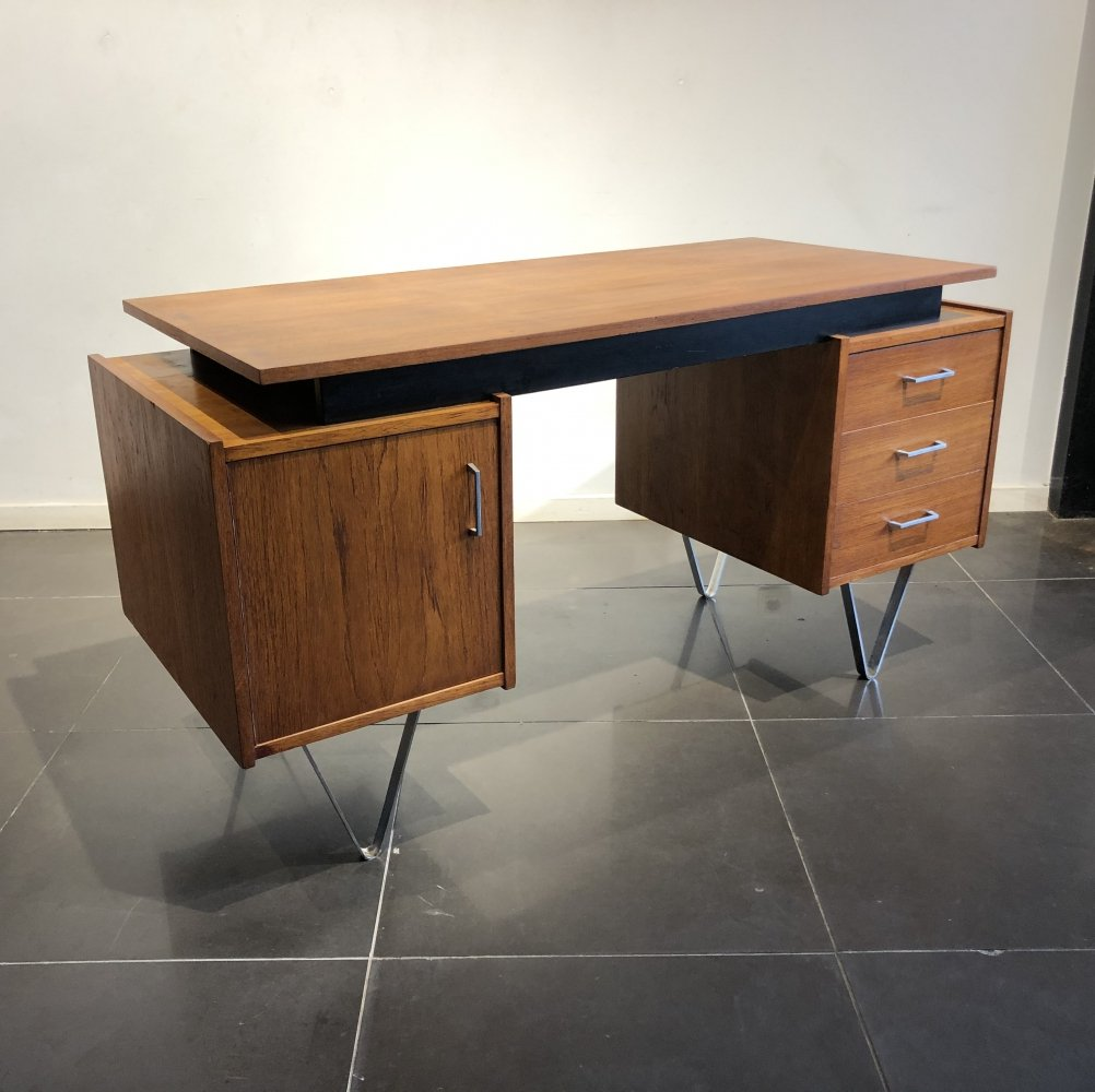 Rare Freestanding Teak Desk by Tijsseling, 1950s