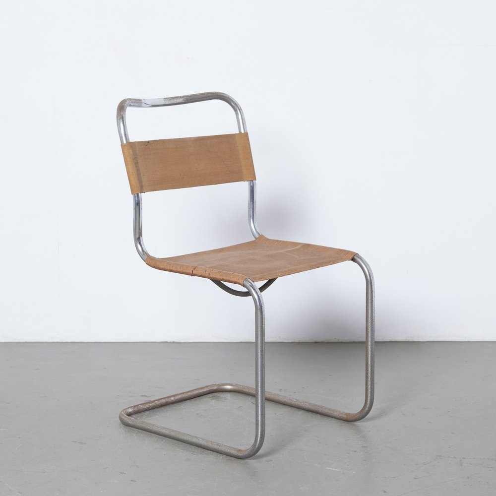Unique rare early cantilever tubular steel chair