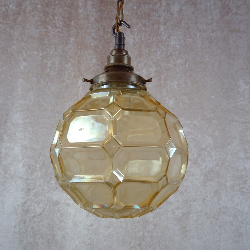 Mid-century faceted glass globe pendant, 1950s