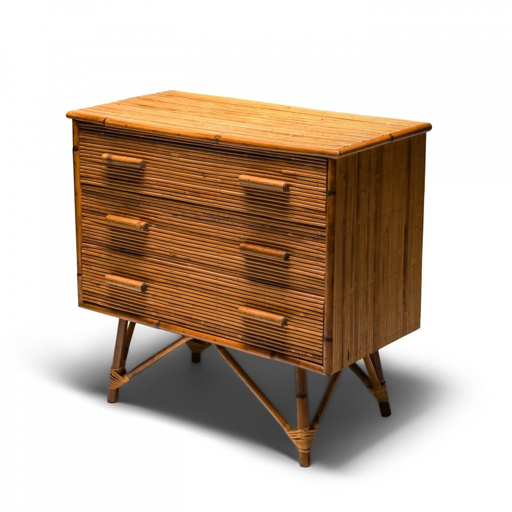 Rattan Drawer Chest by Vivai del Sud, 1970