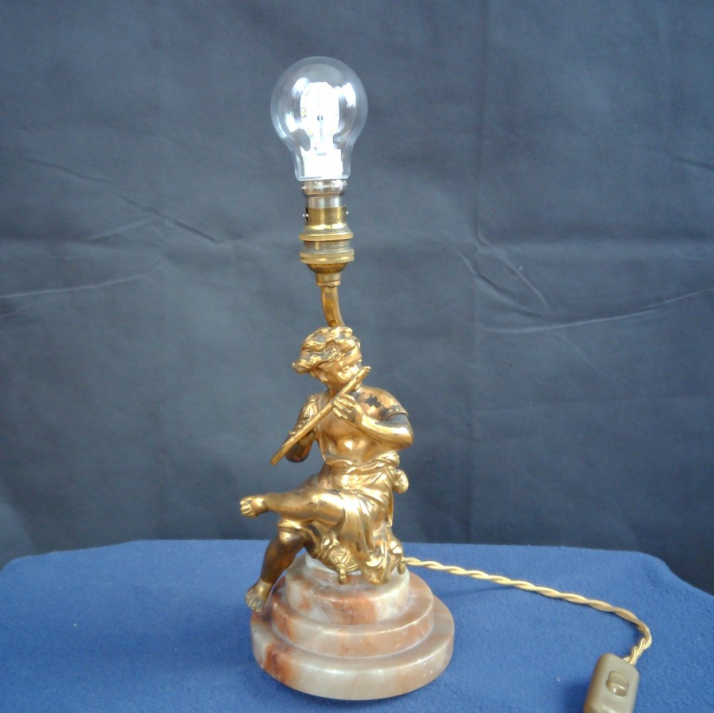 Gilt Bronze Figurine Lamp, 1920