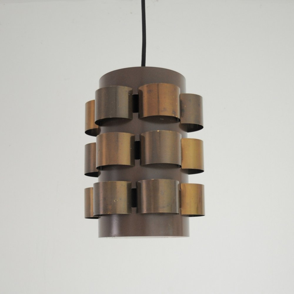 Danish Lamp by Werner Schou for Coronell with Patinated Brass Elements, 1960s