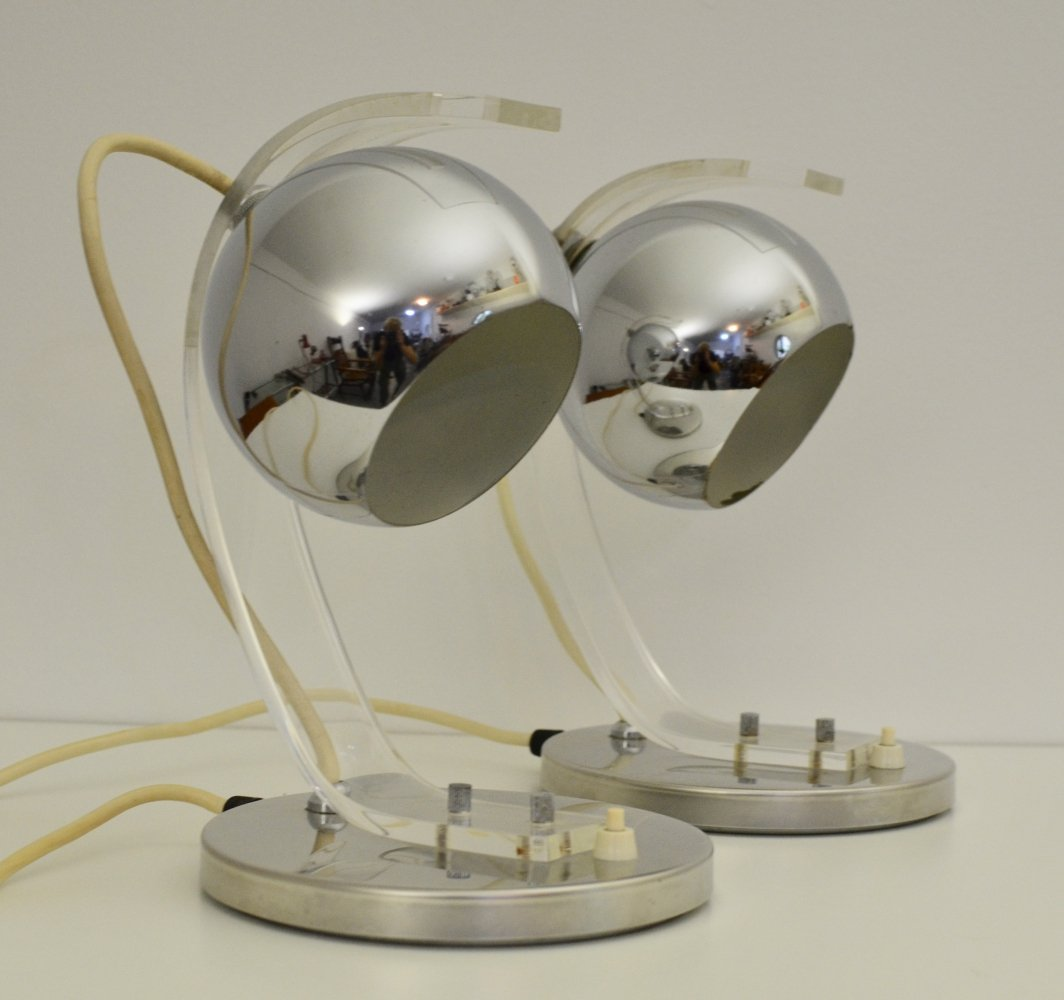 Pair of Guzzini Space Age table lamps, 1970s