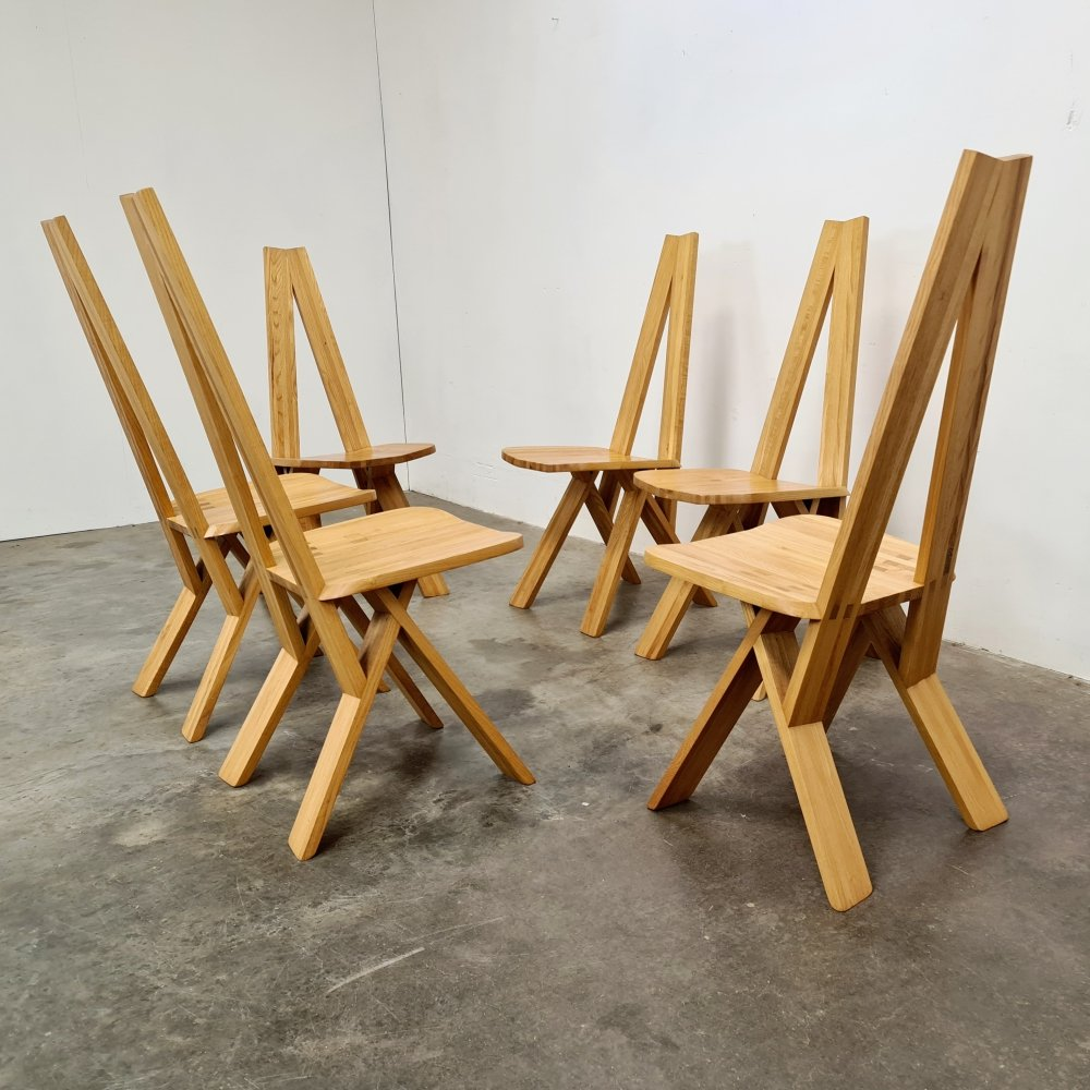 Set of 6 S45 chairs by Pierre Chapo, 1970s