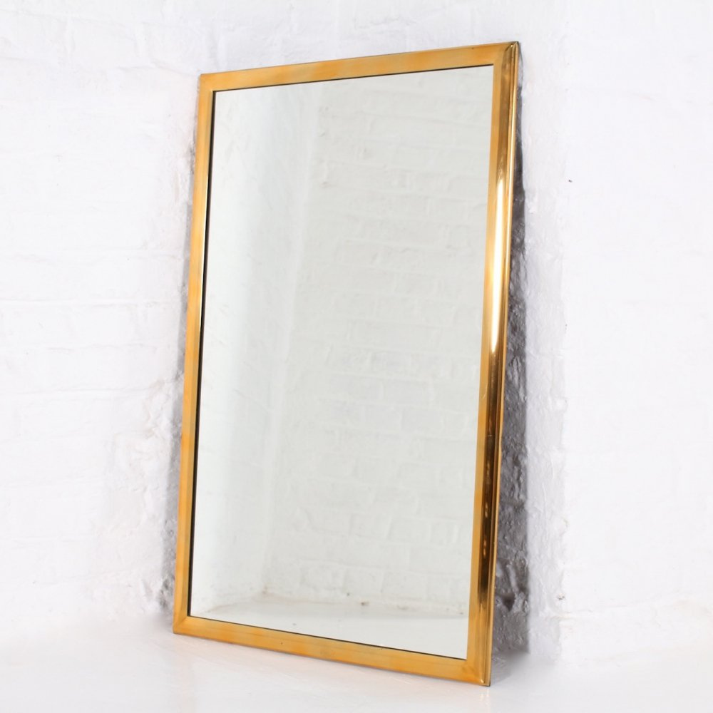 Mirror, framed by a light solid brass ogee, 1960