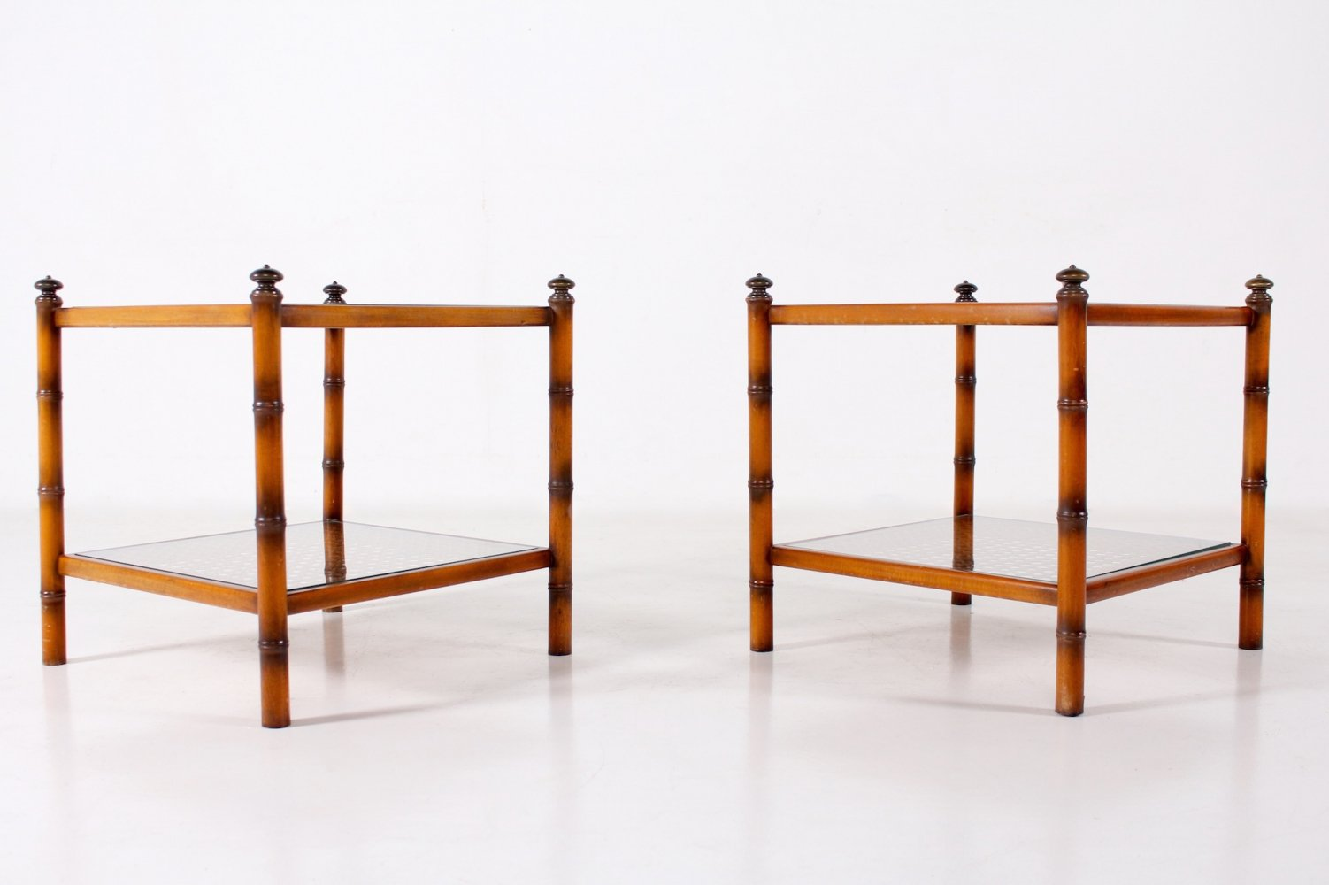 Pair of imitating bamboo end tables, 1970