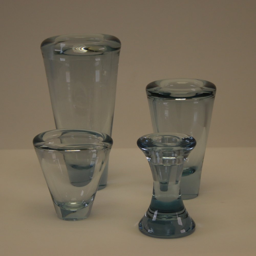 Set of 3 sculptural Per Lutken for Holmegaard crystal vases & 1 candlestick