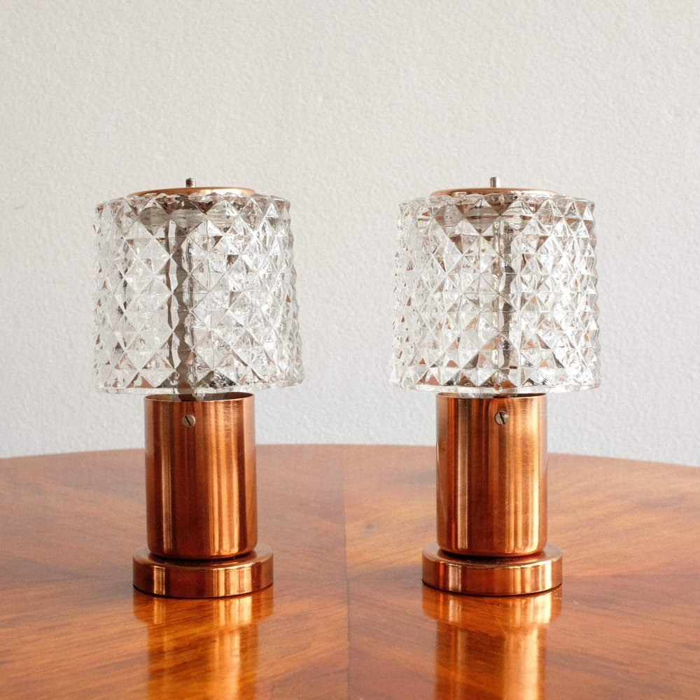 Pair of Lustry Kamenický Šenov desk lamps, 1960s
