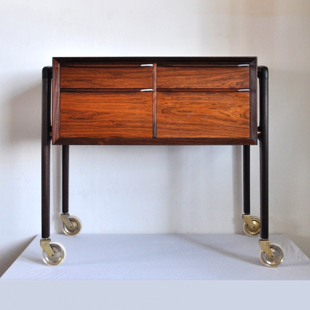 Rosewood Sewing trolley, Denmark 1950s