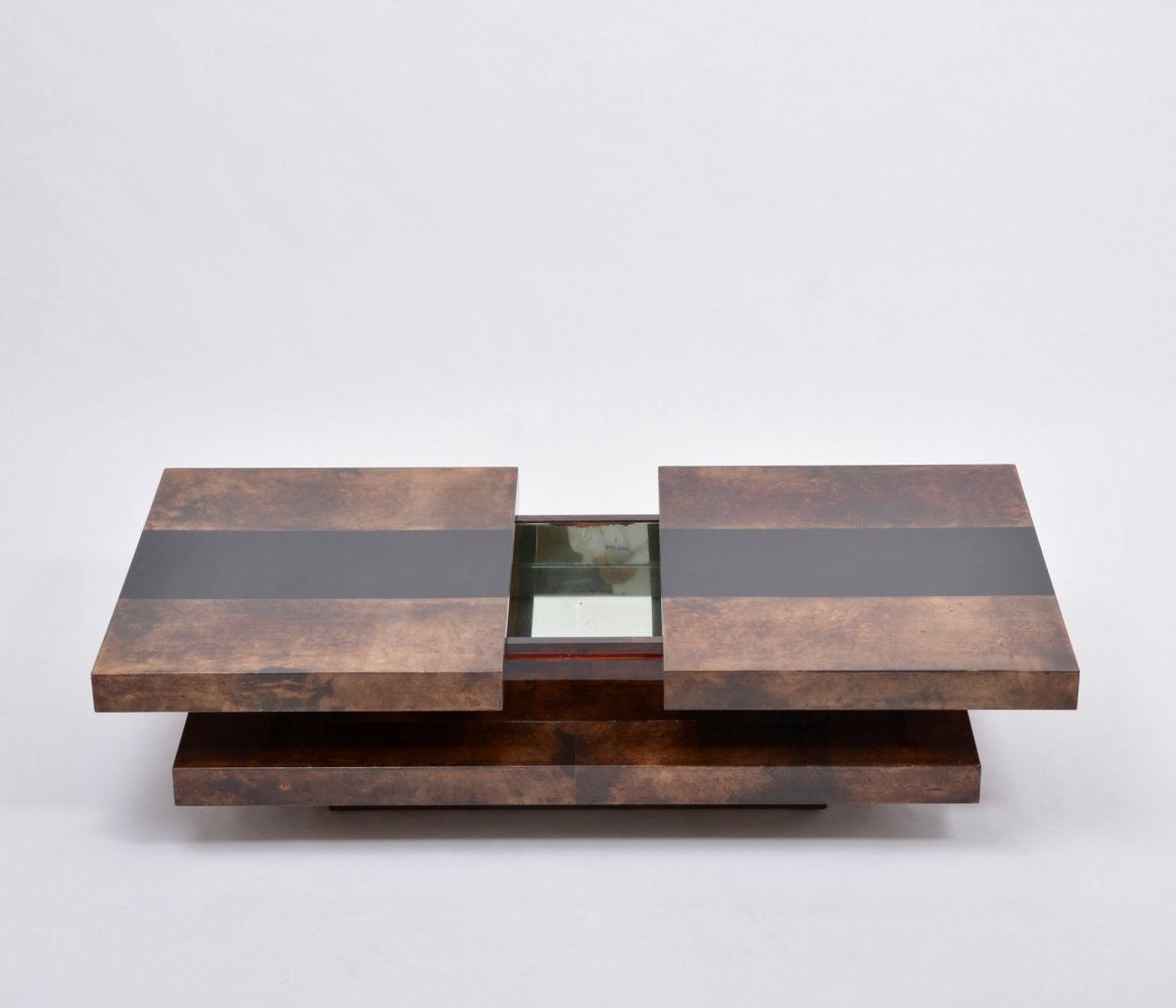 Brown Colored Italian Two-Tiered Aldo Tura Sliding Coffee Table with Hidden Bar, 1970s