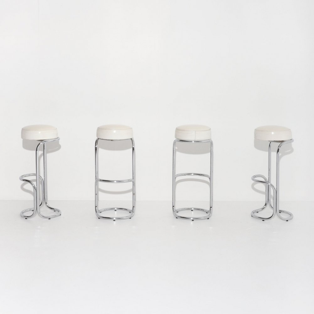 Set of four bar stools with white shiny plastic fabric seats, 1960s