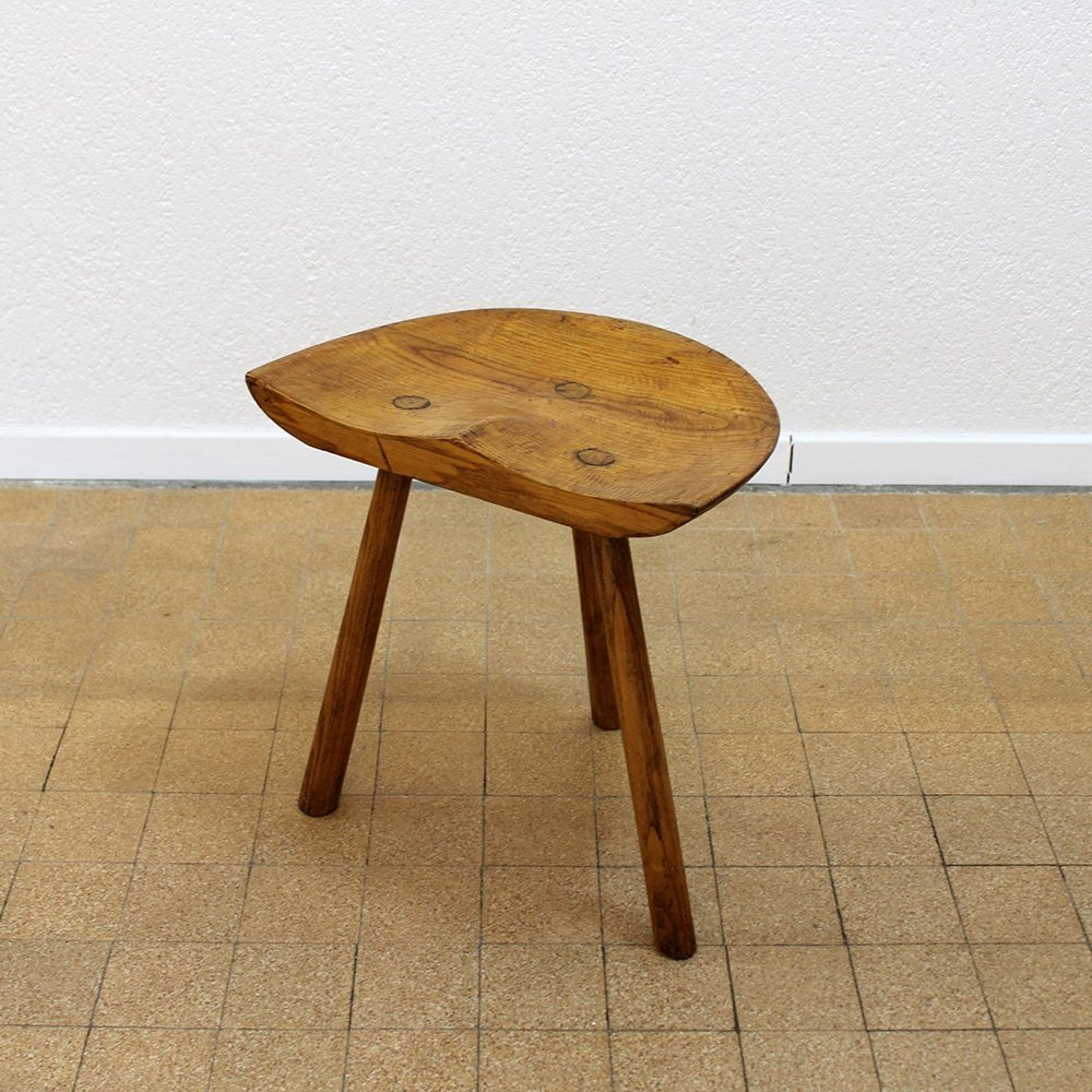 Hand carved stool in solid wood, 1940s