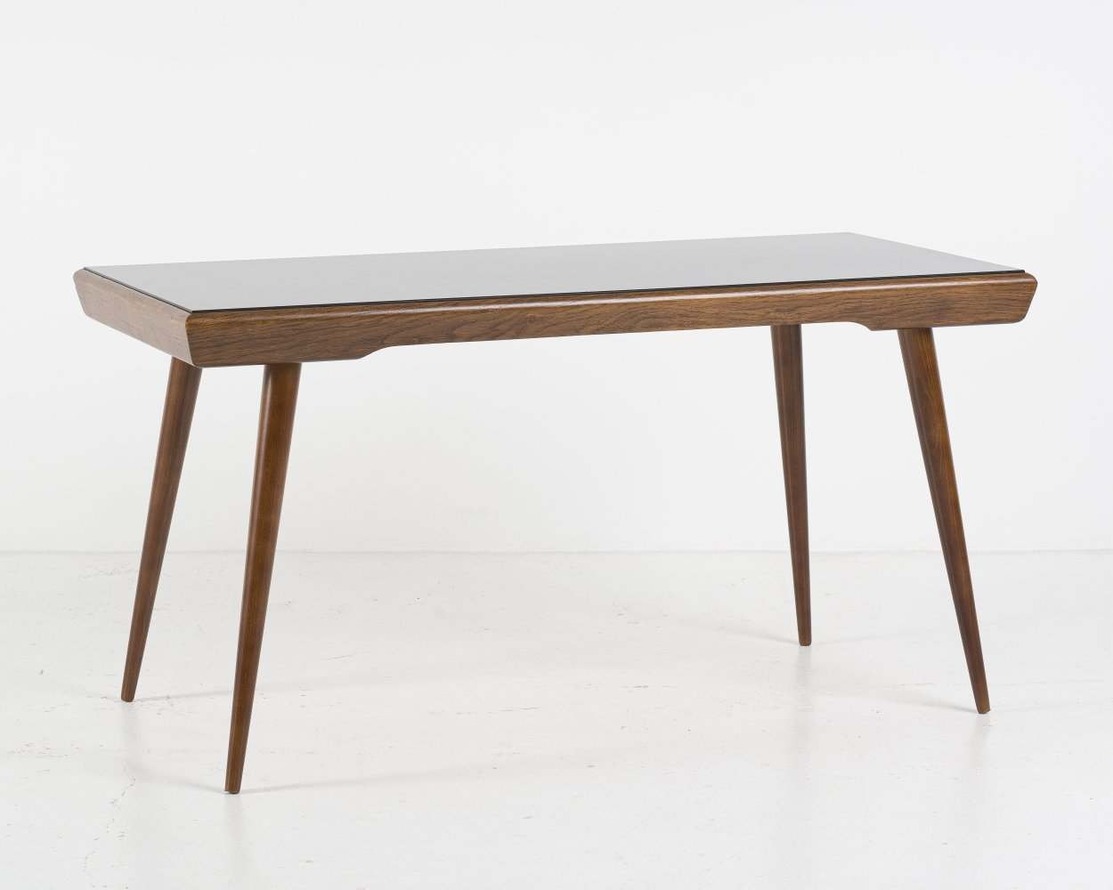 Black opaxit glass coffee table from Interier Praha, 1960