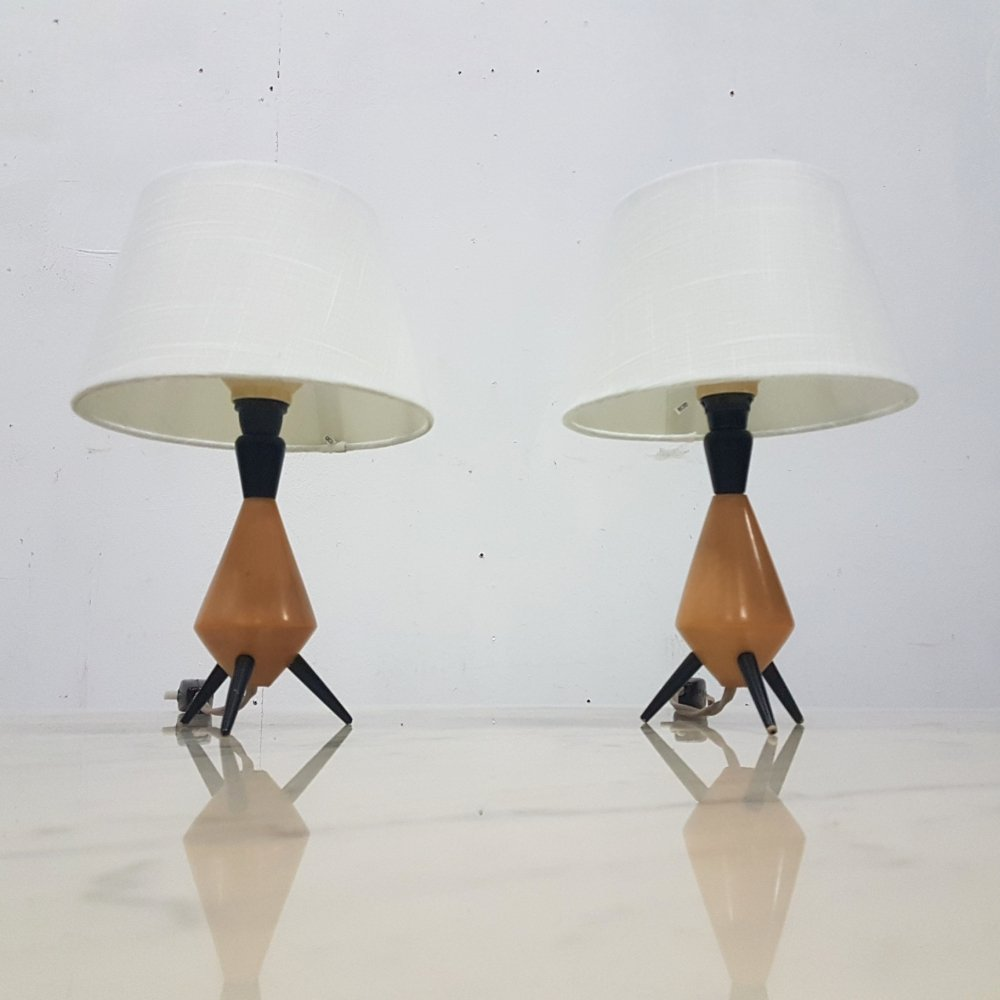 Set of 2 small tripod table lamps, 1960s