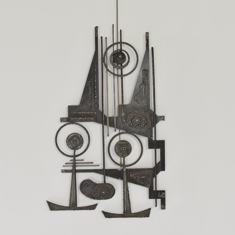 Abstract brutalist sculpture made out of iron, Belgium 1950