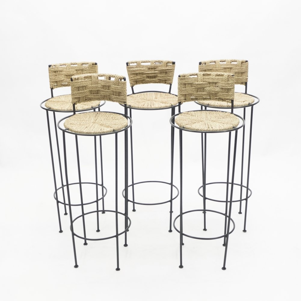 Set of 5 french bar stools in rope & metal by Adrien Audoux & Frida Minet, 1950s