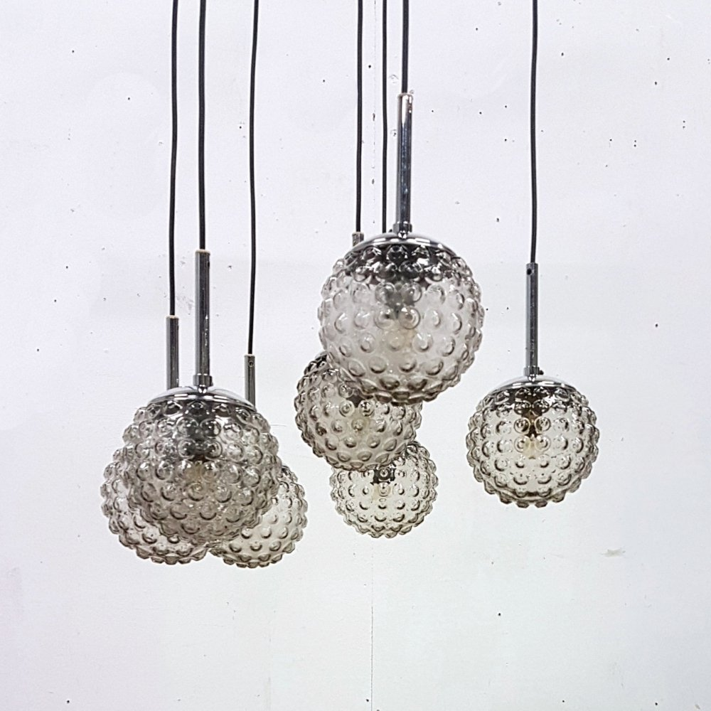 Staff hanging lamp with 7 bubble globes by Rolf Krüger, Germany 1960s