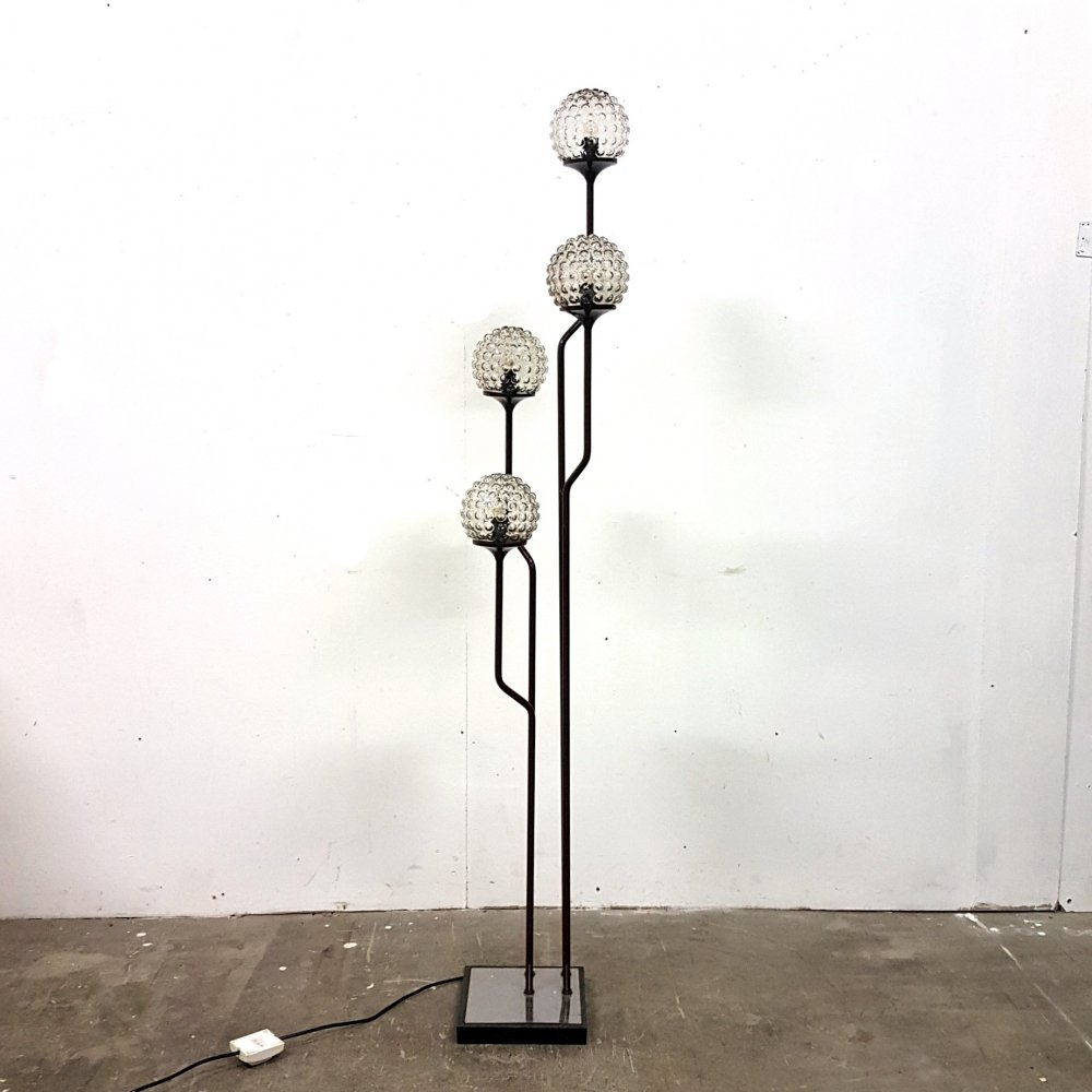Impressive floor lamp with bubble glass shades by Goffredo Reggiani, Italy 1960