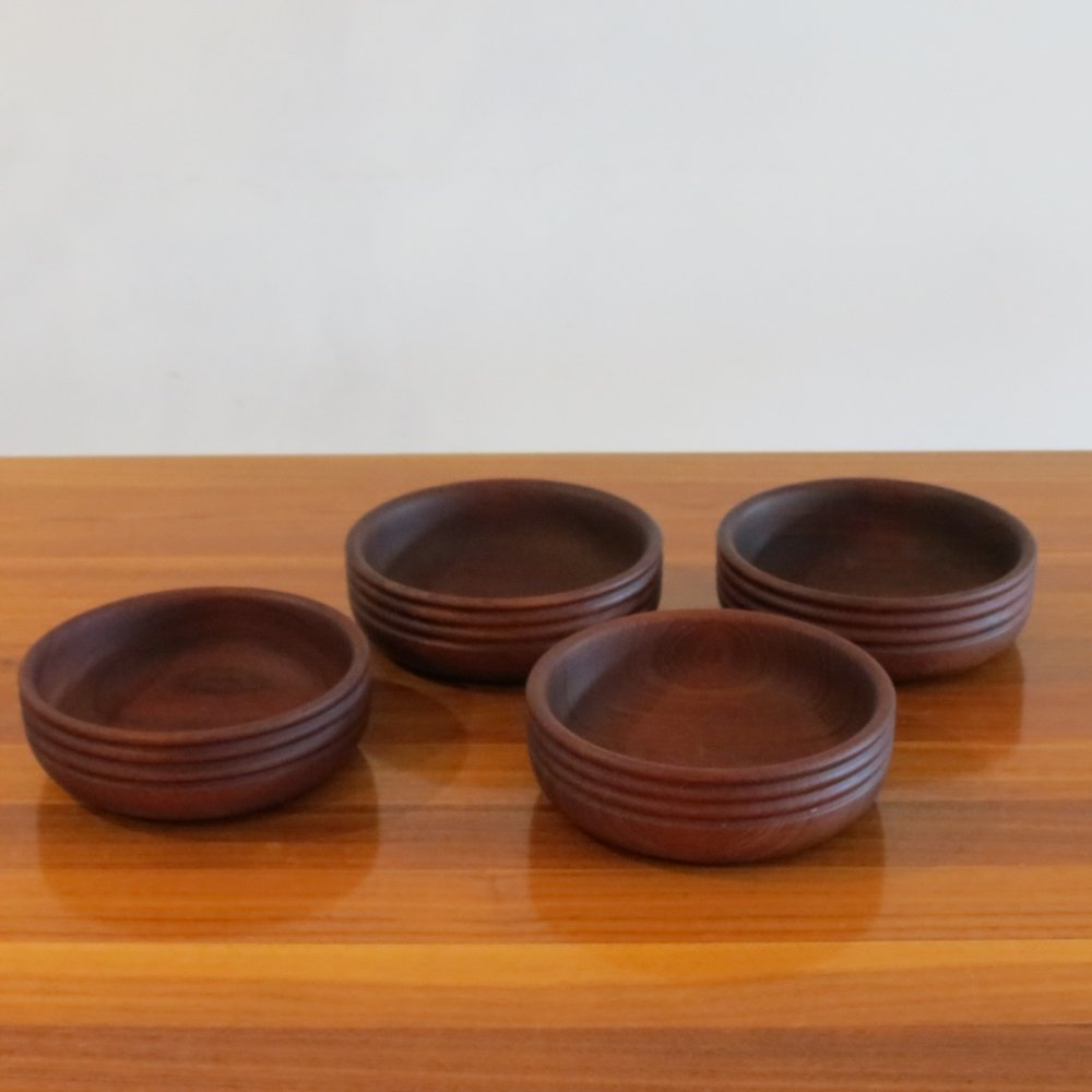 Set of 4 Vintage Hand Made Teak Wooden Bowls by Galatix