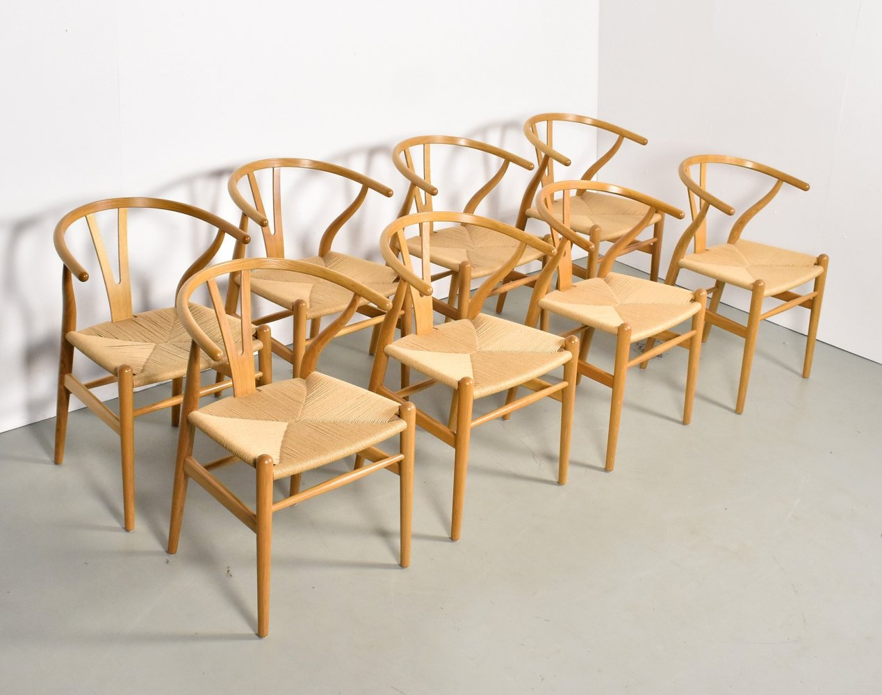 Set of 8 CH24 Wishbone dining chairs by Hans Wegner for Carl Hansen & Søn, 1990s