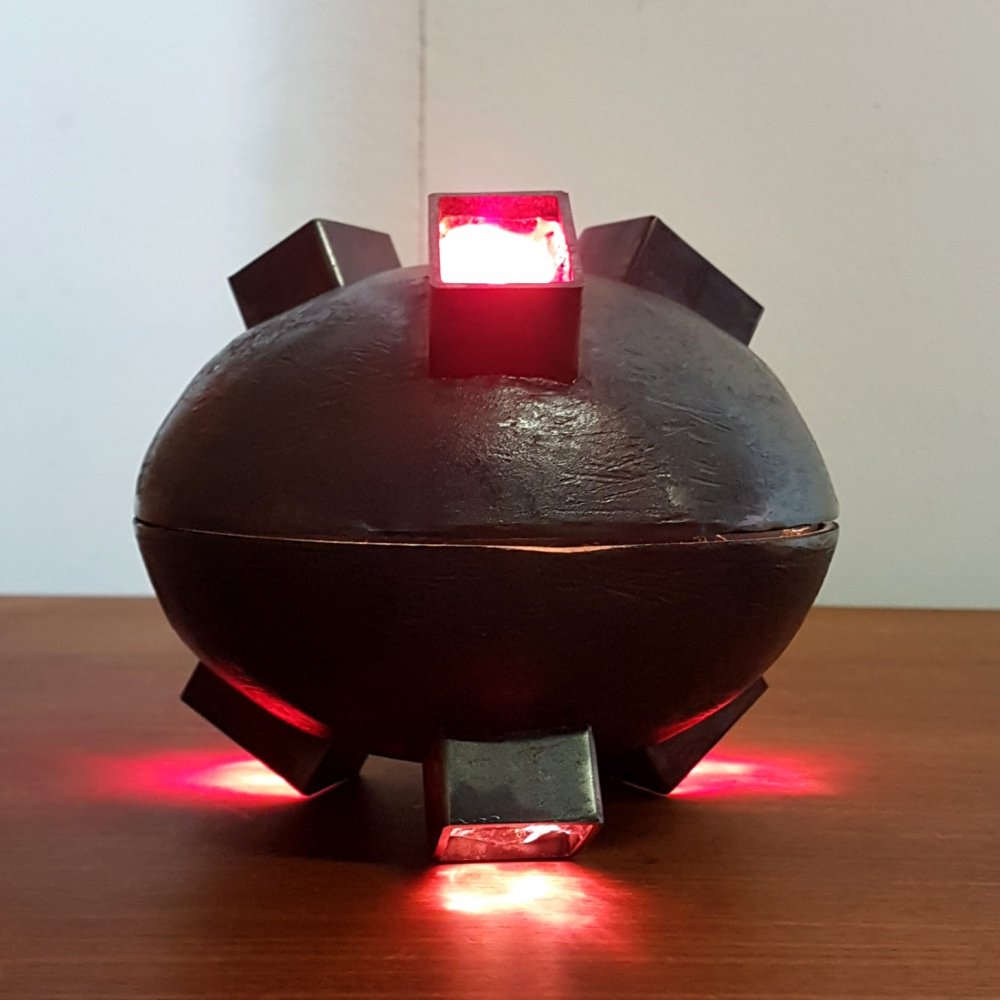 Brutalist cast iron & coloured glass UFO table lamp, 1970s