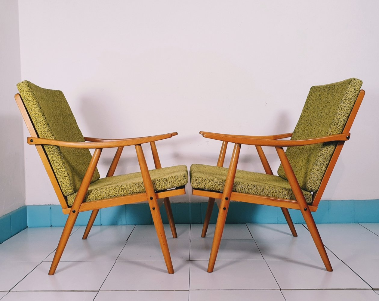 Pair of mid century Boomerang armchairs by TON
