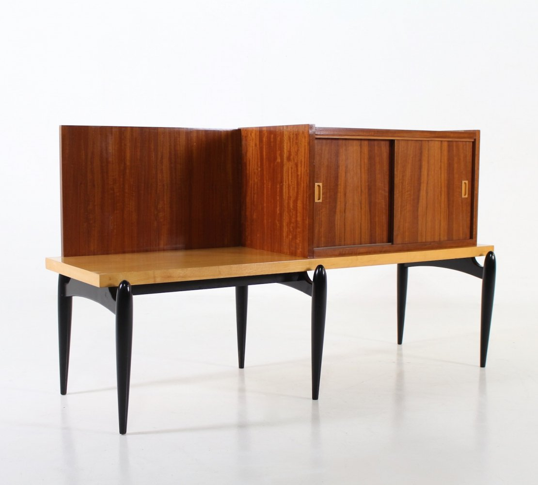 Beech, maple & bubinga modernist Belgian sideboard, 1950