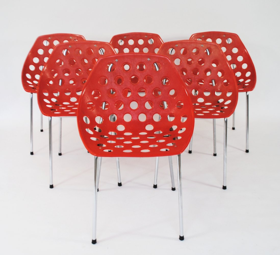 Set of 6 Coquillage dining chairs by Pierre Guariche for Meurop, 1960s