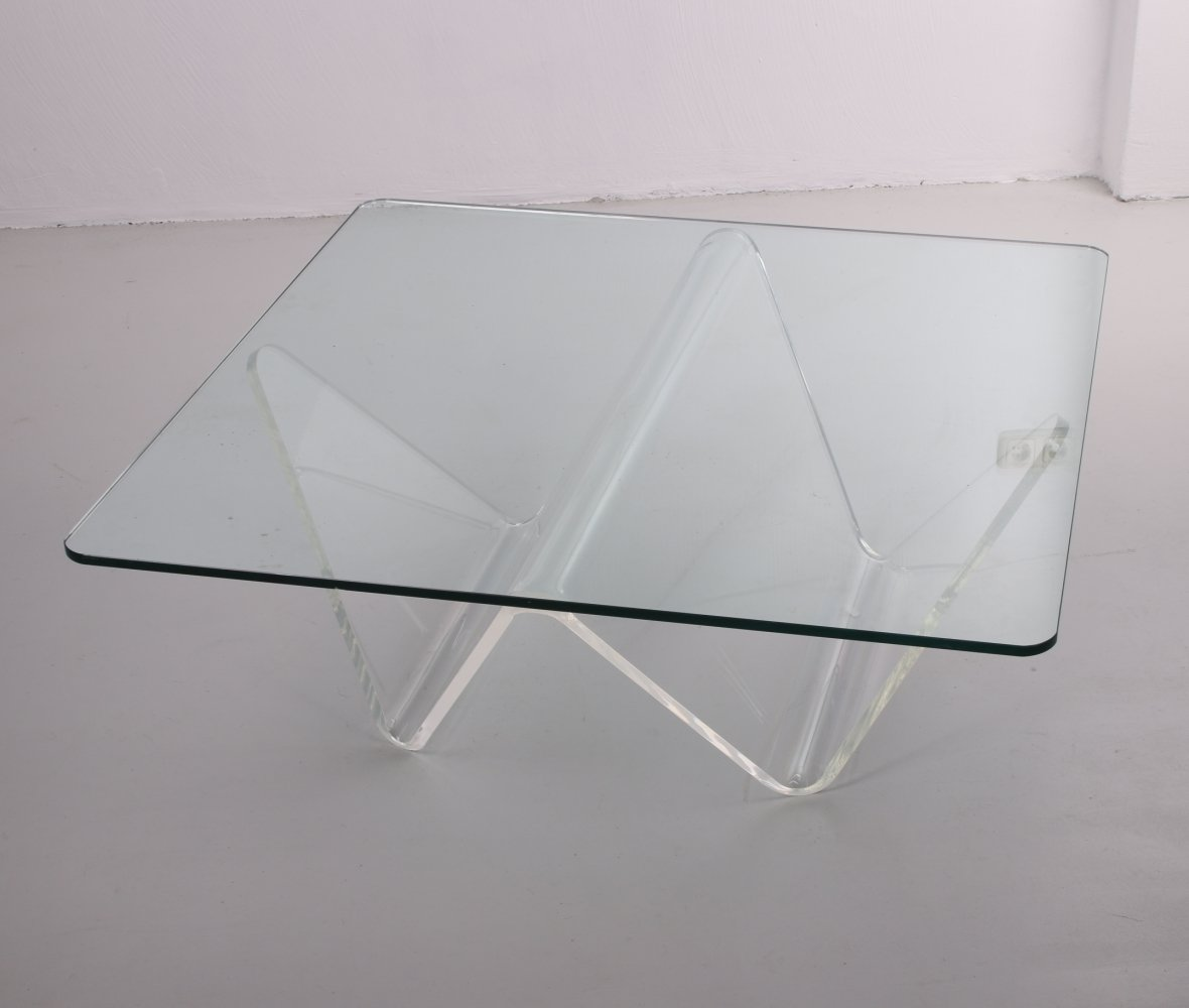 Vintage Glass coffee table by Combiplex, 1980s