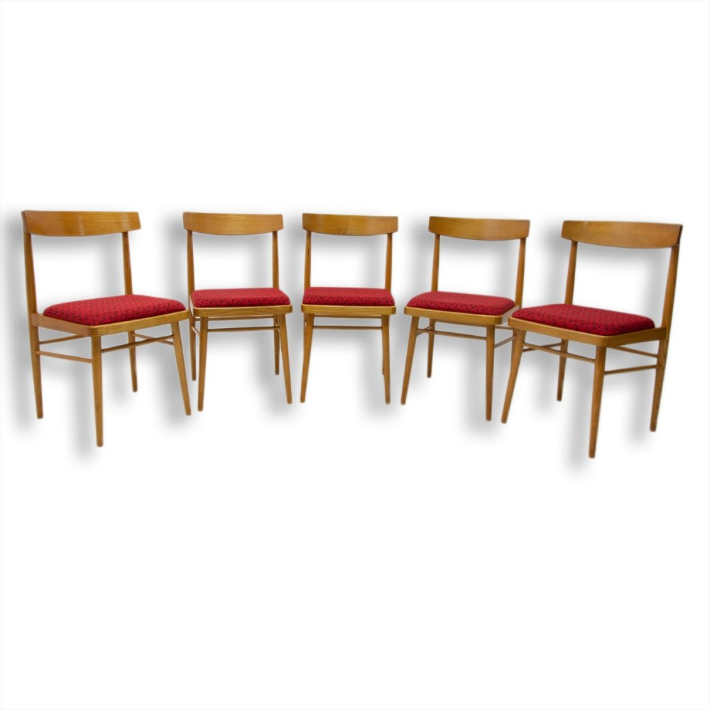 Set of 5 dining chairs by TON, Czechoslovakia 1970s